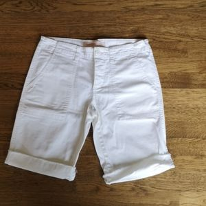 AEO White Stretch Denim Bermuda Shorts